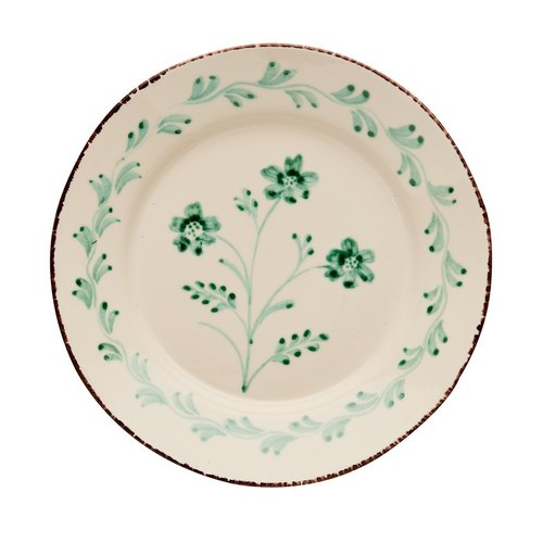 ABIGAILS DINNER PLATE GREEN 3 FLOWER V