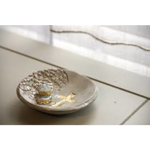 PRODIGAL POTTERY CROSS RING DISH SEA SPRAY 15650