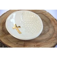 PRODIGAL POTTERY CROSS RING DISH WHITE SQ468104