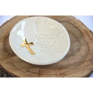 PRODIGAL POTTERY CROSS RING DISH WHITE SQ468104