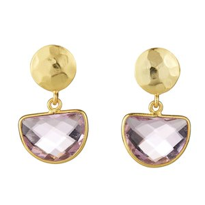 EARRINGS GOLD POST WITH GEMSTONE SEMICIRCLE DROP ELYSSA BASS
