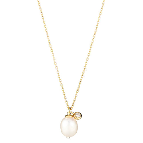 NECKLACE SINGLE PEARL WITH BEVEL SET CZ ELYSSA BASS
