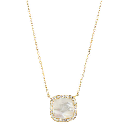 NECKLACE SQUARE MOTHER OF PEARL WITH PAVE CZ RIM ELYSSA BASS