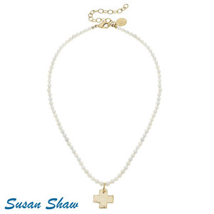 Necklace SMALL BEADS with GOLD CROSS by SUSAN SHAW -