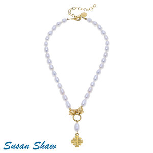 NECKLACE PEARL WITH JERUSALEM GOLD CROSS by SUSAN SHAW