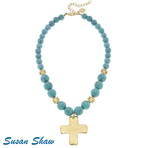 NECKLACE TURQUOISE & GOLD BEADS WITH GOLD CROSS by SUSAN SHAW