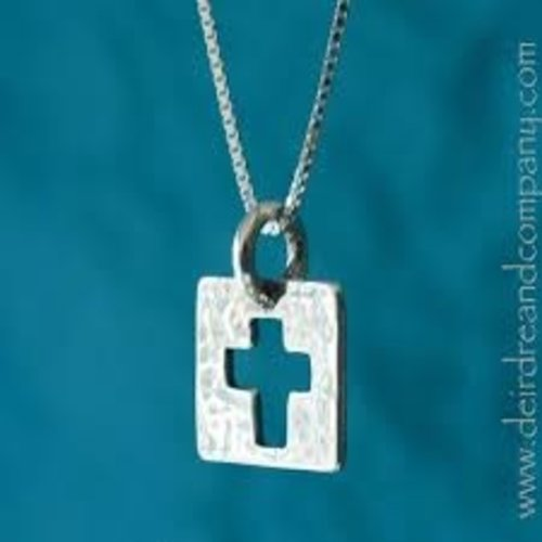 "CUT-OUT CROSS NECKLACE - STERLING SILVER WITH 16"" CHAIN"