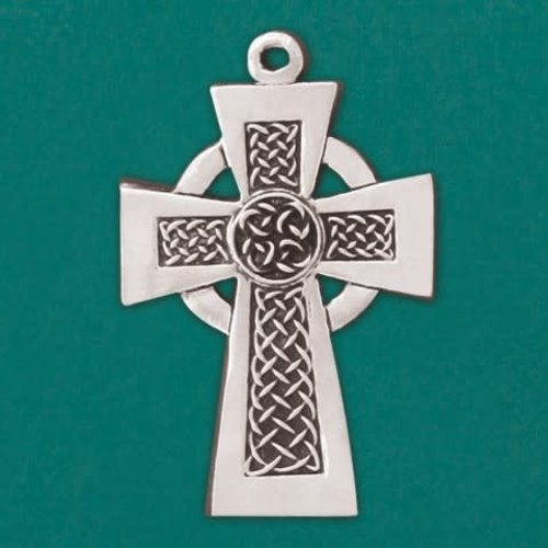 "CELTIC CROSS  PEWTER  4.5"" ON RIBBON"