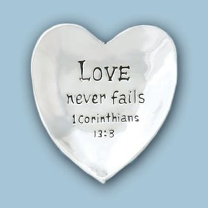 PEWTER BOWL HEART LOVE NEVER FAILS