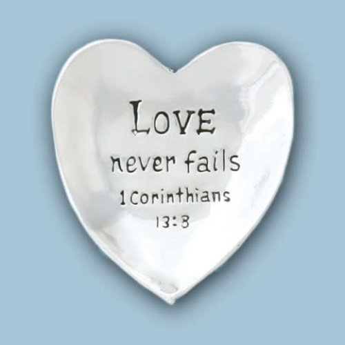PEWTER BOWL HEART LOVE NEVER FAILS from Basic Spirit