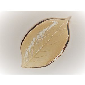 PRODIGAL POTTERY GOLD EDGED LEAF DISH SMALL WHITE