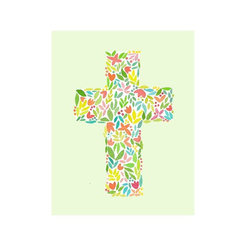NOTES FLORAL CROSS GREEN