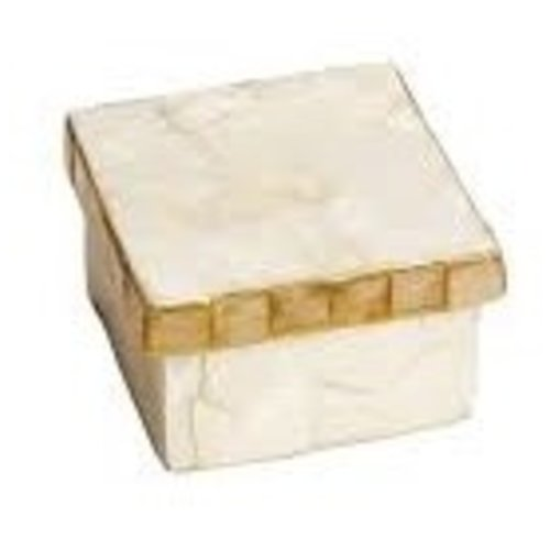 CAPIZ BOX WITH MOSAIC SQUARE 3.25""