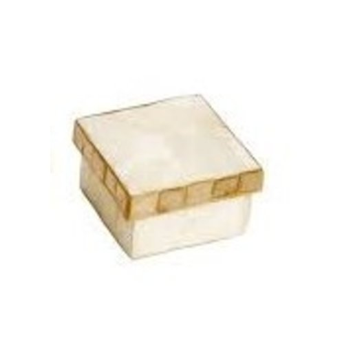CAPIZ BOX WITH MOSAIC SQUARE 2.5""