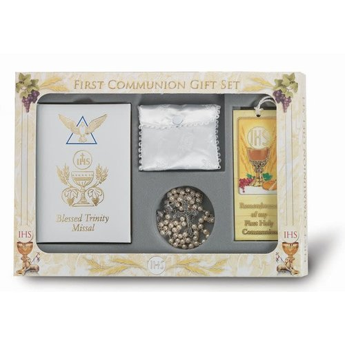 FIRST COMMUNION SET WHITE MISSAL & ROSARY