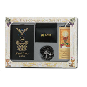 FIRST COMMUNION SET BLACK MISSAL & ROSARY