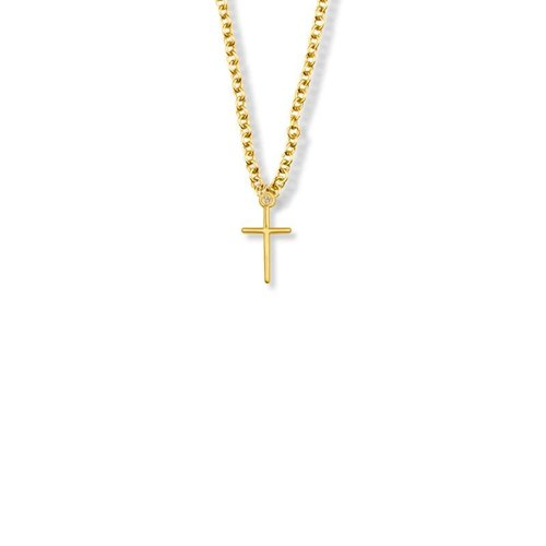 "NECKLACE CROSS STICK GOLD-FILL 16"" CHAIN"