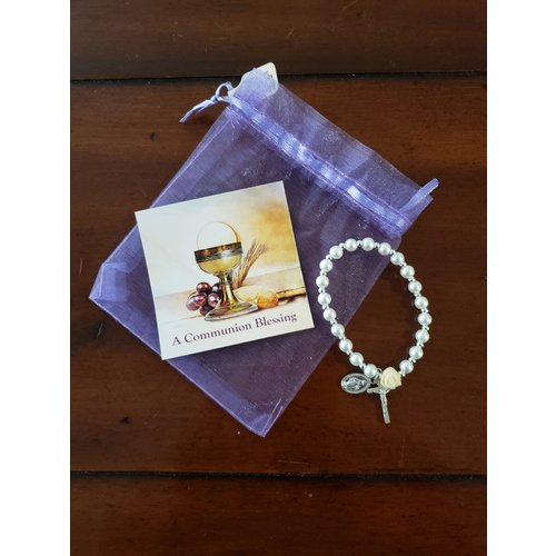 FIRST COMMUNION BRACELET FAUX PEARL