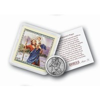 POCKET COIN ST CHRISTOPHER with PRAYER CARD
