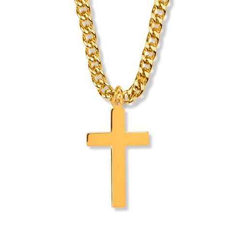 """NECKLACE CROSS PLAIN 1.38"""" GOLD-FILL 24""""CHAIN"""