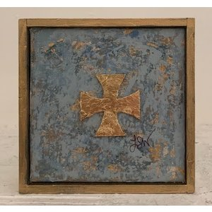 PAINTING GOLD CROSS 5X5 FRAMED