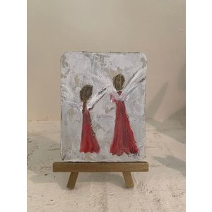 "WILKERSON WORKS Angel Painting 3 x 4.5"" on board with Easel by Leah Wilkerson"