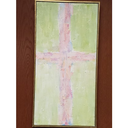 "WILKERSON WORKS PAINTING GRATITUDE CROSS 12 X 24"" FRAMED"