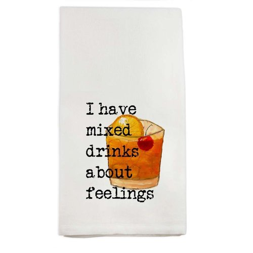 FRENCH GRAFFITI TOWEL I HAVE MIXED DRINKS ABOUT FEELINGS