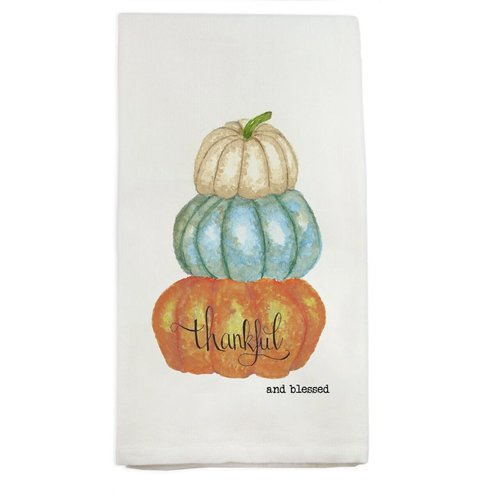 FRENCH GRAFFITI TOWEL PUMPKINS THANKFUL AND BLESSED