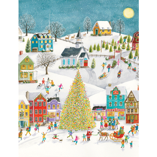 Winter Village Scene Boxed Christmas Cards by CASPARI