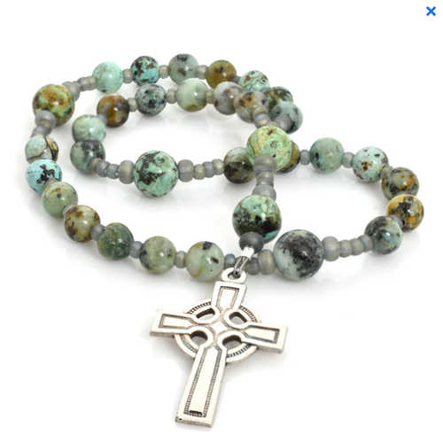 ANGLICAN ROSARY CELTIC CROSS AFRICAN TURQUOISE