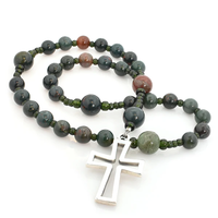 ANGLICAN ROSARY Latin Sterling Cross BLOODSTONE by Full Circle Beads