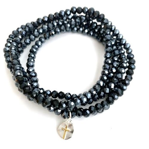 BRACELET 7 Stack Navy with Sterling Cross by ERIN GRAY