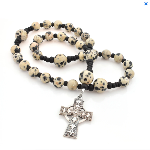 ANGLICAN ROSARY Celtic Cross Dalmation Jasper by Full Circle Beads