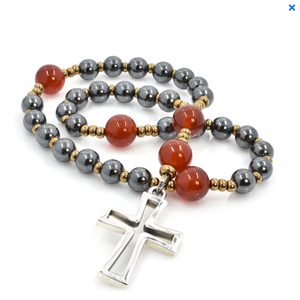 ANGLICAN ROSARY Latin Sterling Cross Hematite & Carnelian by Full Circle Beads