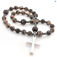 ANGLICAN ROSARY Latin Sterling Cross Turritella Fossil Agate by Full Circle Beads