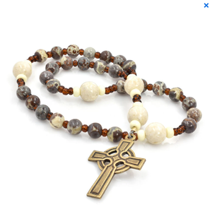 ANGLICAN ROSARY Celtic Cross Leopard Jasper & River Stone Jasper by Full Circle Beads
