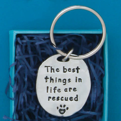 PEWTER KEY CHAIN RESCUED QUOTE from Basic Spirit