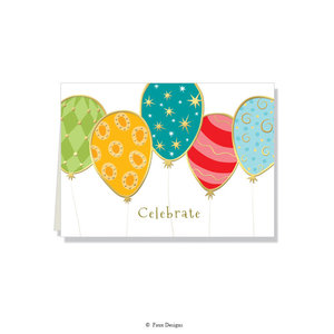 GOLD ACCENT NOTE CARDS Balloons - Celebrate