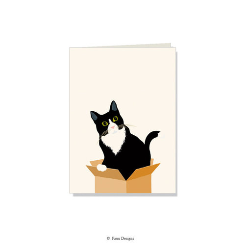 GOLD ACCENT NOTE CARDS Cat in the Box