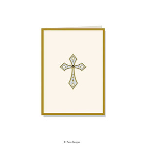 GOLD ACCENT NOTE CARDS Cross with gold border