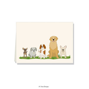 GOLD ACCENT NOTE CARDS Dogs