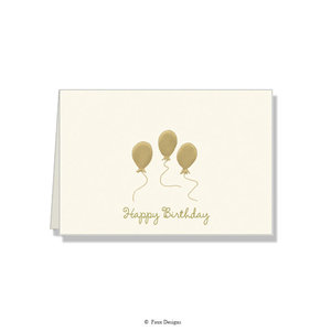 GOLD ACCENT NOTE CARDS Gold Balloons - Happy Birthday
