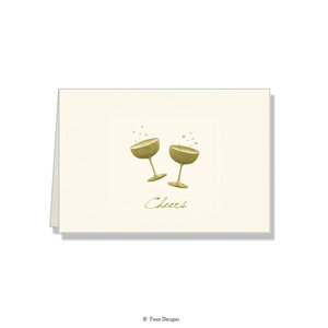 GOLD ACCENT NOTE CARDS Gold Cocktails - Cheers