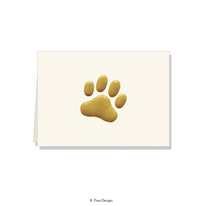 GOLD ACCENT NOTE CARDS Gold Paw Print