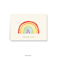 GOLD ACCENT NOTE CARDS Rainbow - Thank You