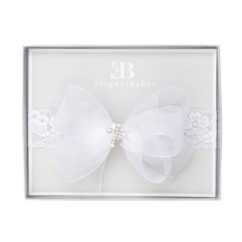 Christening Headband with Bow by Elegant Baby