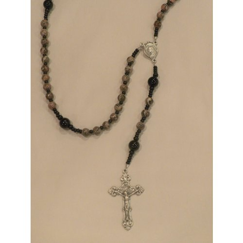 ROSARY Baroque Crucifix Leopard Jasper by Full Circle Beads