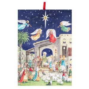 Nativity with Angels Advent Calendar w/ Envelope by Caspari