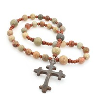 Anglican Rosary Trefoil Cross Silver Mist Jasper by Full Circle Beads